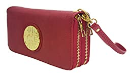 Canal Collection Double Zipper Around PVC Leather Wristlet Clutch Organizer Wallet with Emblem (Red)