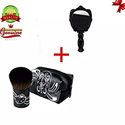Sealive Makeup Brush with PU Bag for Handbag w/ Retro Handheld Mirror