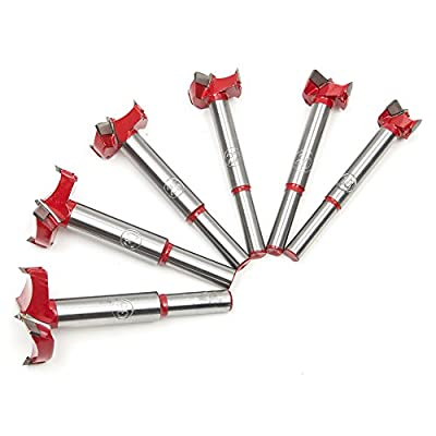6pcs Forstner Wood Boring Hole Saw Set Woodworking Auger Opener Triangular Cutter Tool Drill Bit with Round Shank 16/20/22/25/30/35mm