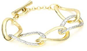 """Kenneth Cole New York """"Holiday Boxed"""" Gold Link and Silver Glitter Toggle Bracelet"""