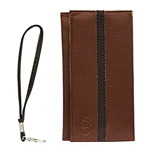 Jo Jo A5 S Series Leather Wallet Universal Pouch Cover Case For ZTE Blade X9 Light Brown Black