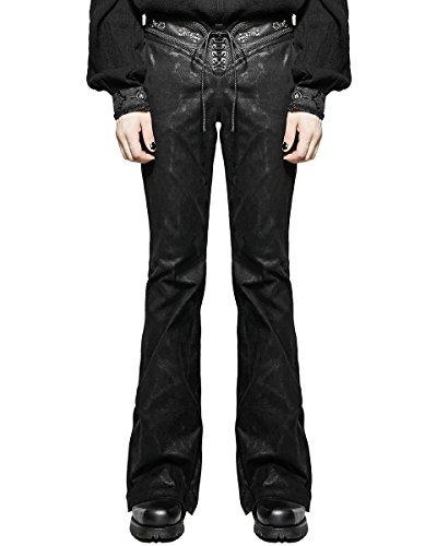 Punk Rave Pantaloni Da Uomo Jeans Neri A campana Svasati Gotico Dieselpunk Rock Star VINTAGE - cotone, Nero, 97% cotone 3% spandex.\ncintura 3% elastan \n97% cotone 97% cotone 3% spandex, Uomo, Large