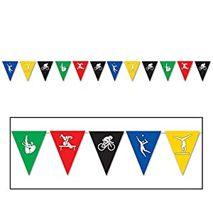 Beistle Festive Summer Sports Olympics Multicolored 12' Pennant Banner by Beistle