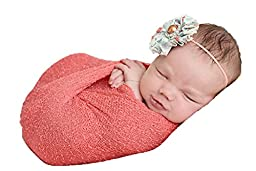 Newborn Photo Prop Stretch Wrap Baby Photography Wrap-BAby Photo Props -20 Colors! (Coral)