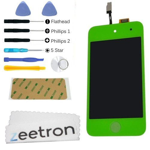 Zeetron© Ipod Touch 4Th Gen Glass Digitizer Lcd Assembly Replacement Screen Green + Tools + Screen Protector + Cloth + Adhesive (Do It Yourself Kit)