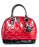 Minnie and Mickey Red and Black Shiny Patent Embossed Tote Bag