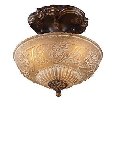 Artistic Lighting Restoration 3-Light 10 Floral Semi-Flush Mount, Golden Bronze