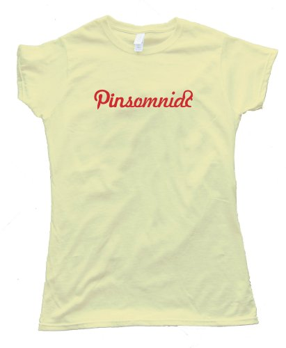 Womens PINTEREST PINSOMNIAC – Tee Shirt Gildan Softstyle Light Yellow (Large)