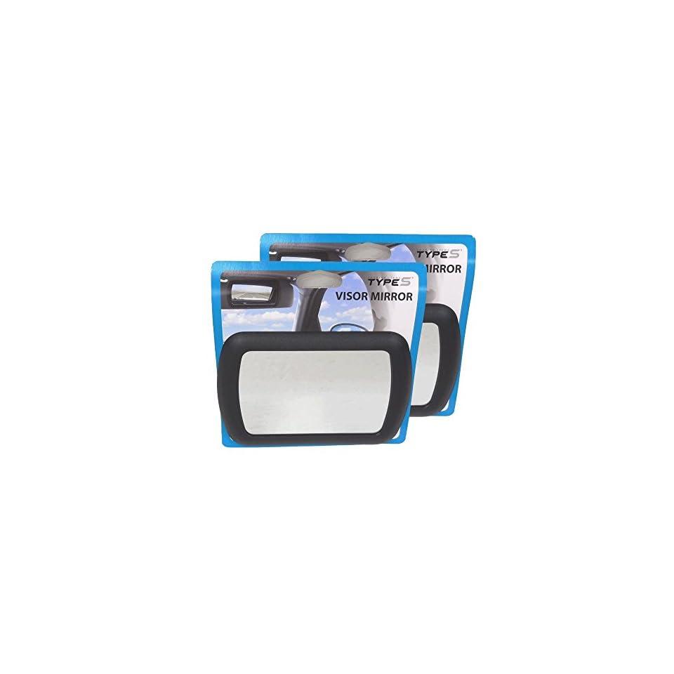 Winplus Set of 2 Black Clip On Car Automobile Vehicle Sun Visor Vanity Mirror