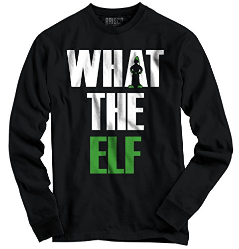 Funny Christmas Long Sleeve T Shirt What The Elf Pun Ugly Christmas Sweater Tee
