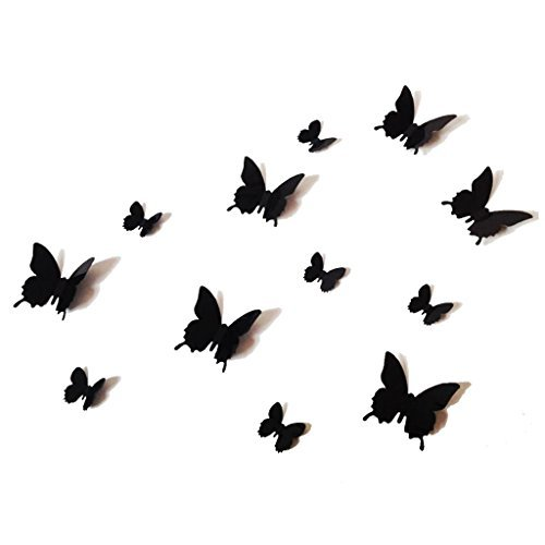 12PCS-3D-Black-Butterfly-Wall-Stickers-Art-Decal-PVC-Butterflies-Home-DIY-Decor-by-UK-DEALS