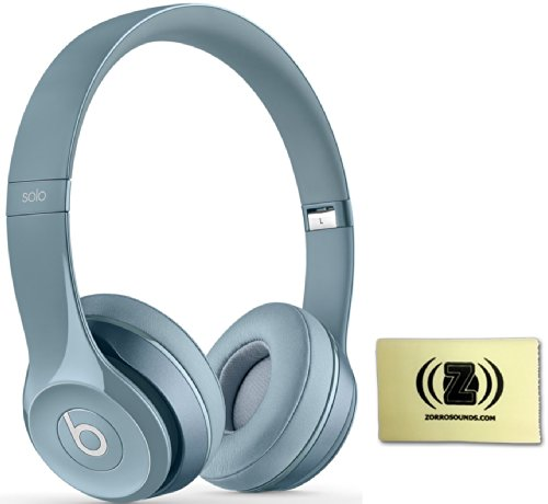 Beats By Dr. Dre Solo 2.0 On-Ear Headphones Bundle (Silver) With Zorro Sounds Custom Designed Polishing Cloth