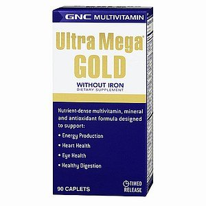 Gnc Ultra Mega Gold Without Iron Multivitamin, Caplets, 90 Ea