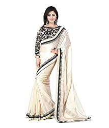 Meera Trendz Women's Georgette Saree(whitesatin_White)
