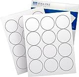 """Online Labels® Circle Labels for Laser & Inkjet Printers - 2.5"""" Labels 12 Labels Per Sheet White Matte - 100 Sheets"""