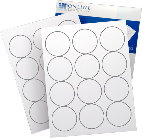 "Online Labels® Circle Labels For Laser & Inkjet Printers - 2.5"" Labels, 12 Labels Per Sheet, White Matte - 100 Sheets"
