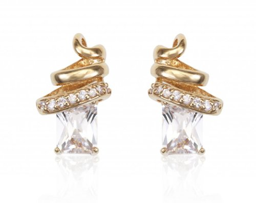 Lifestyle Infinity Lifestyle Gold Plated Cubic Zirconia Spiral Earrings For Wmen (YE10466) (Yellow)