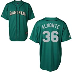 Abraham Almonte Seattle Mariners Alternate Green Replica Jersey by Majestic by Majestic