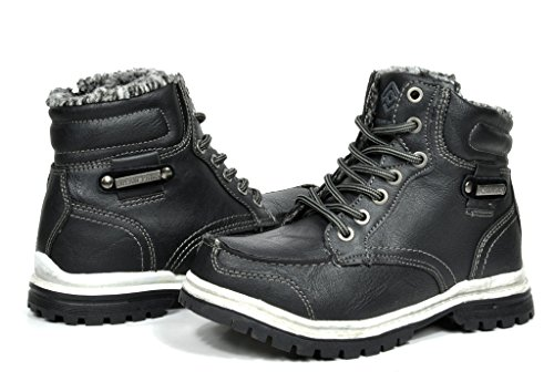 Dream Pairs New Boy's TRAILER-K Casual Everyday Fur Lined Lace Up Side Zipper Ankle Hiking Outdoor Winter Snow Boots Little Kid/Big Kid Black Size 10 (Kids Boots For Boys compare prices)