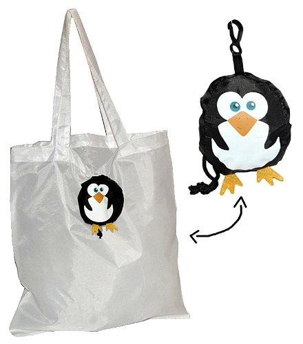 Tragetasche / Shopper / Einkaufsbeutel - Pinguin faltbar - Tasche aus Stoff mit Karabiner - Nylon - Faltshopper Beutel Einkaufstasche