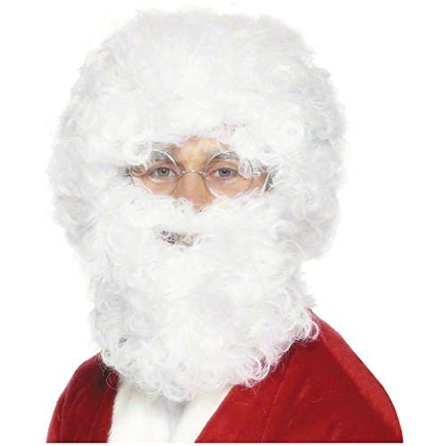 GSG White Santa Claus Beard Wig Set Christmas Costume Accessory (Child Santa Wig And Beard)