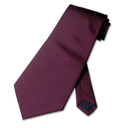 100% SILK Solid Burgandy / Maroon / Purple Neck Tie