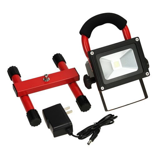 Muchbuy 10W Waterproof Cool White/ Pure White Rechargeable Led Floodlight, High Power Outdoor Lamp With Red Color Bracket