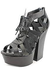 Shellys London Laufer Womens Peep Toe Textile Platforms Heels Shoes