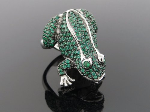 Designer Women's Frog Ring .925 Sterling Silver Cubic Zirconia ARS-16733