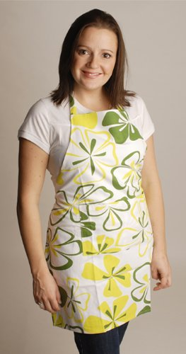 Twinklebelle Aprons in Green Flower Print, for Cooking, Gardening, Crafting