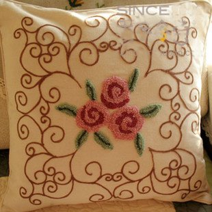 Hand Woollen Embroided Pink Flowers Cushion Cover/Pillow