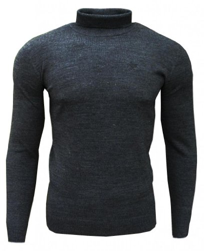 Soul Star Dagenham Men's Roll Neck Fashion Casual Jumper Top Charcoal Small