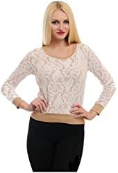 G2 Chic Women's Long Sleeve Floral Lace Top