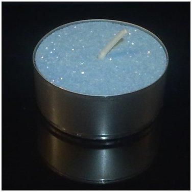 16 Baby Soft Blue Glitter Tealight Tea Light Candles by GLITTER CANDLES