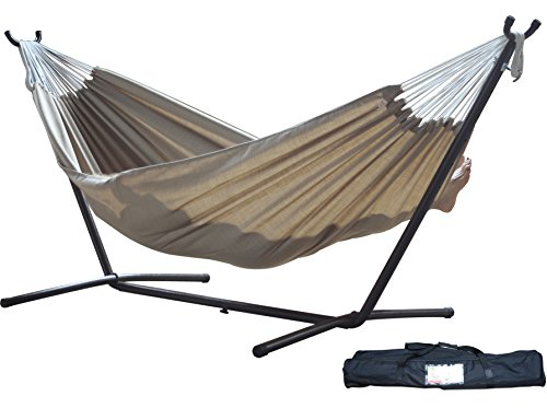 Vivere Double Sunbrella Hammock with Space-Saving Steel Stand, Sand (Hammock Without Stand compare prices)