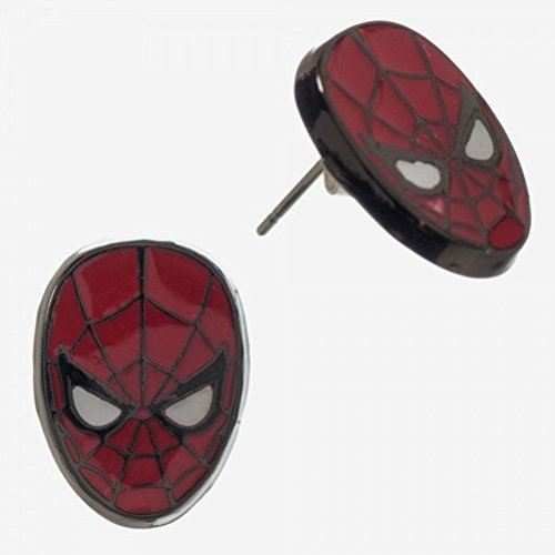 Marvel Comics Costume Spider-Man 2 Pair (4) Stud Earrings Mask & Black Spider