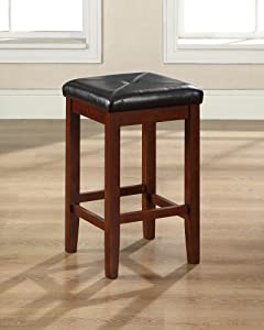 Crosley Furniture Upholstered Square Seat Bar Stool, Classic Cherry with 24-Inch Seat Height, Set of 2