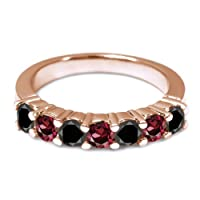 1.34 Ct Round Black Diamond Red Rhodolite Garnet 18K Rose Gold Wedding Band Ring