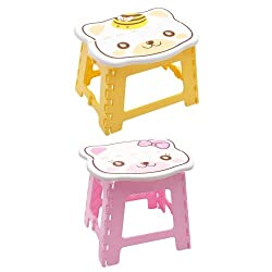 Folding Step Stool for Kids, Cute Cat design Stepping Stools, Garden Step Stool Multipurpose Portable Stool Compact Stool Portable Super Strong Plastic Stools for Child Kids (Combo of 2 Pink And Yellow) By Instabuyz
