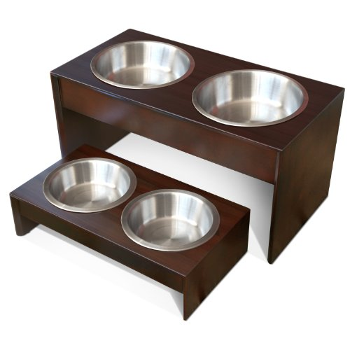 PetFusion Elevated Pet Feeder in Solid Wood (Short - 4 inch height)