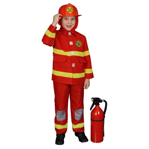 Deluxe Red Fire Fighter Dress up Children's Costume and Helmet Set Size: Medium