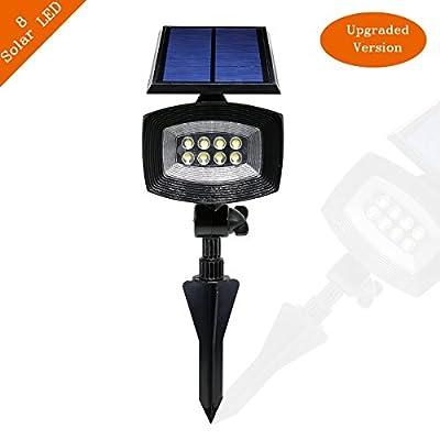 Solar Lights, Adjustable Waterproof Solar Outdoor Spotlights, Landscape Lights, Flood Lights, Night lights with Security Auto On/Off, 400 Lumens & 8 LED