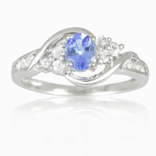 10K White Gold Oval Tanzanite and Round White Topaz Ring, Size 7