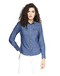 Yepme Printed Denim Shirt - Medium Wash -- YPMSHRT5014_L