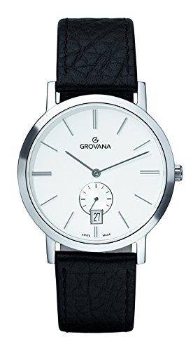 Grovana 1050,1532 - Reloj para hombre, correa de cuero color negro