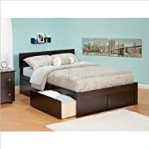 Hot Sale Atlantic Furniture Orlando Queen Bed with Flat Panel Foot Board and 2 Urban Bed Drawers, Espresso Finish