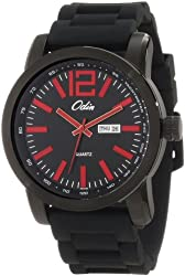 Odin Men's 8054-6M Bk Precision Quartz 3-Hand Day and Date Black Tone with Rubber Strap Watch