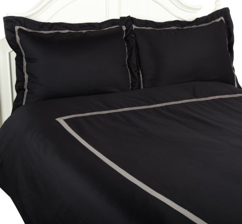Hotel Collection 300 Thread Count Twin Duvet Cover Set, Black With Grey front-609006