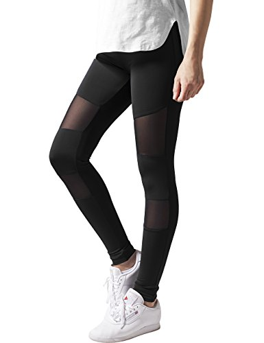 Urban Classics Ladies Tech Mesh, Leggings Donna, Nero (Black 7), W36