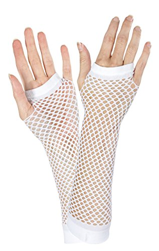 White Fishnet Long Gloves - 1